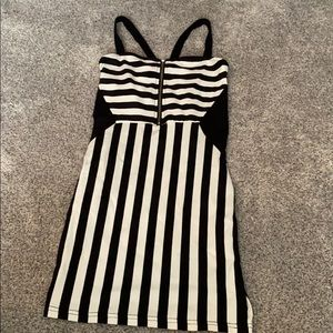 H&M black and white striped  mini dress